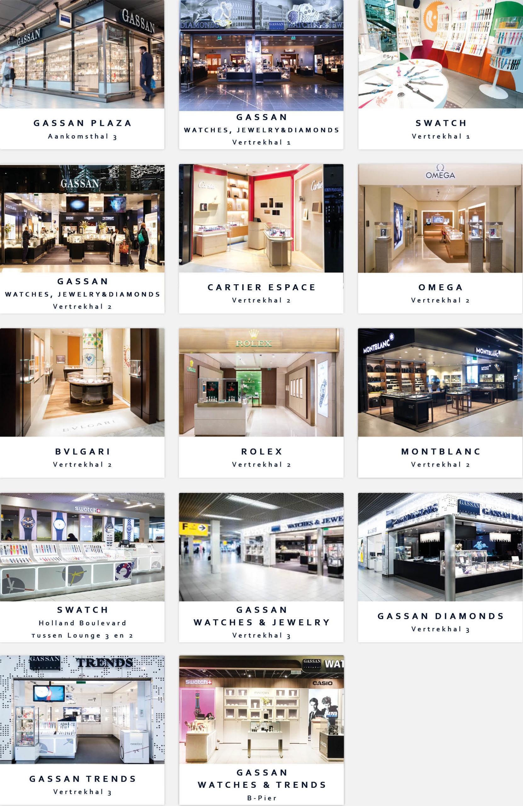 Alle winkels GASSAN Schiphol Amsterdam Airport Schiphol.